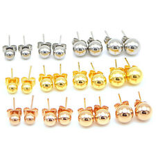 Women Stainless steel Ball Stud Earrings Gold-Rose Gold-Silver Plated Push On