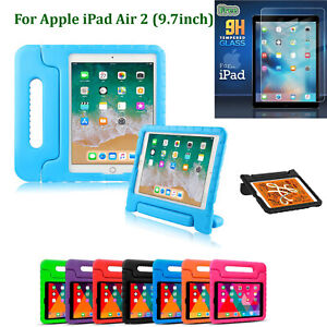 Shockproof Stand EVA Foam Kids Case Cover + Tempered Glass For Apple iPad AIR 2