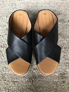 Corso Como Criss Cross Slides Brunna Platform Sport Sandals Black SZ 8 NEW $99