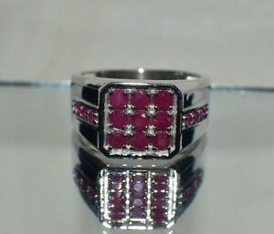 1.27ct. NATURAL  AFRICAN RED RUBY IN STERLING SILVER SIGNET RING FATHER'S DAY