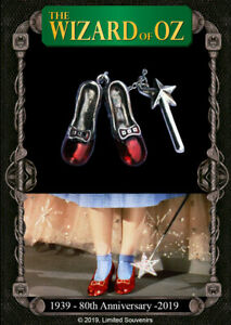 Wizard of Oz 80th Anniversary 1939 2019 Ruby Slippers on Card Silver Rainbow