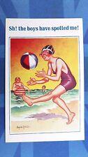 Risque Donald McGill Comic Postcard 1934 Beach Ball Bathing Beauty Theme