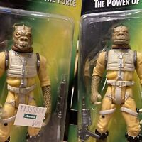 Bossk Lot of 2 - Star Wars POTF 2 - 1 Hologram 1 Regular Card - 2 NEW Action Fig
