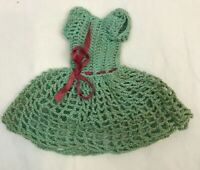 Vintage Doll Dress Crochet Green Handmade Purple Ribbon Clothes Clothing