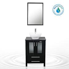 "Vanity Cabinet Bathroom 24"" Vessel Ceramic Sink W/ Faucet Single Mirror Black"