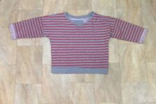 Primark Grey And Red Striped Short Cropped Sweatshirt Jumper Size 8
