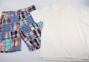 Boys CHILDREN'S PLACE plaid patchwork shorts white polo shirt 7 8 outfit madras
