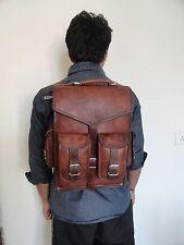 "Leather 13"" Laptop Convertible Backpack Messenger Crossbody Bag Satchel Unisex"