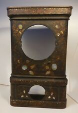 ANTIQUE CAST-IRON MANTEL CLOCK CASE HANDPAINTED&INLAID ABALONE SHELL-AS-IS/PARTS