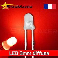 LED 3mm diffusant Rouge - 10 à 100 pcs - LED Diffused Red fog