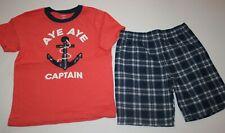 New Carter's Boys 2 Piece Set 5T Anchor Captain Orange Top & Blue Plaid Shorts