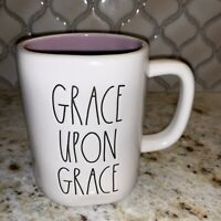 """Rae Dunn Religious """"Grace Upon Grace"""" Mug with Purple Inside LL By Magenta"""