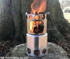 COMPACT STAINLESS STEEL LIGHTWEIGHT ROUND WOOD STOVE BUSHCRAFT CAMPING