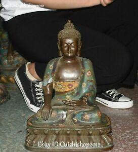 "17 ""Cloisonne Enamel Purple Bronze Sakyamuni Shakyamuni Amitabha Buddha statues"