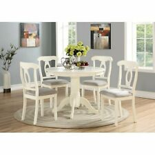 Dining Set White Wooden Kitchen Furniture Tables & Chairs Set Dinette Ivory