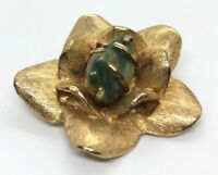 Vintage Fashion Costume Brooch Pin Flower Green Stone Jade Gold Tone