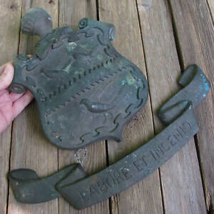 Antique Bronze / Brass Coat of Arms Plaque / Shield Sign 7.6 lbs