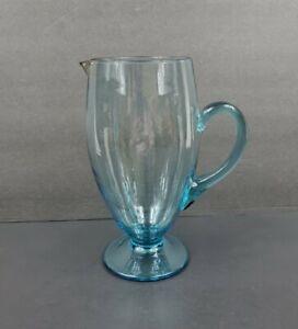 "Vintage Turquoise Blue 9"" Cocktail Pitcher Applied Handle VGC"