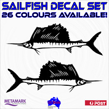 59cm SAILFISH decal sticker set.Fishing boat,half cabin,tinny,marine,car,caravan