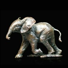 Baby Elephant Running Solid Bronze Foundry Cast Sculpture Keith Sherwin [974]