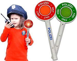 Polizeikelle Kinder mit Lichtfunktion, Handkelle Stopp Kelle mit rot grün Licht