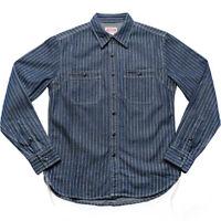 New Men's Non Stock Wabash Stripe Work Shirt Vintage Denim Vent Hole Work Shirts
