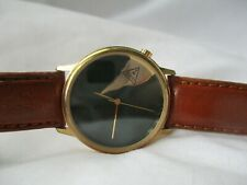 Guess Watch Gold Toned Green Round Face Brown Leather Band Unique WORKING!