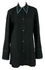 CELINE Black Cotton Poplin Contrast Trim Collared Button-Front Shirt 42