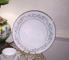 Rose China Japan Louise 3803 Dinner Plate Dish Green Silver Trim Pristine