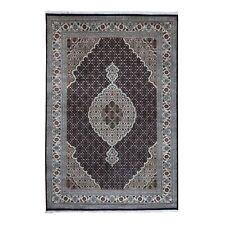 "6'x8'10"" Black Mahi Design Wool and Silk Hand Knotted Fine Oriental Rug R49492"