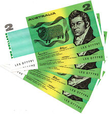 5 Consecutive 1985 Unciculated 2 Dollar Notes Nice