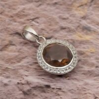 3.12 natural Round Cut Smoky Quartz With White Topaz 925 Sterling Silver Pendant