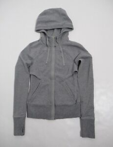 Lululemon Women's After Asana Hoodie Heathered Medium Grey Size 2 Full Zip
