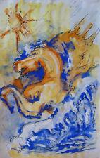 Ruben GROSMAN (1914-2010) Acrylique & aquarelle Années 70 / Expressionnisme