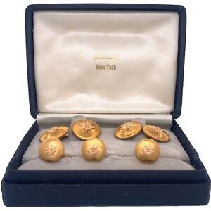 1960's Buccellati 18 Karat Yellow Gold Cufflink Stud Set Original Box Vintage