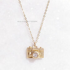 *EXTREMELY RARE* $120 14K GOLD CAMERA CRYSTAL NECKLACE ANTHROPOLOGIE BHLDN
