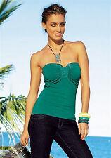 Bandeau Top mit Schmuck Steinchen Sexy smaragd grün Gr. 32 34 Hüftlang *031*