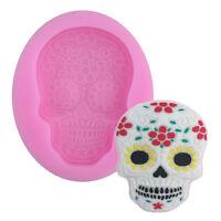 skull silicone mould fondant sugar clay jewellery fimo button cake mold tool