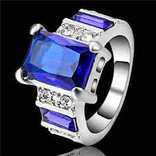 Princess Cut Blue Sapphire Band Wedding Ring White Rhodium Plated Size 6