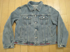 NICE!! 90s vtg TOMMY HILFIGER jean JACKET denim usa made EMB LOGO COAT YOUTH XL