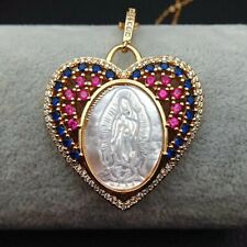 Virgin Mary White Shell Rainbow CZ Micro Pave Heart Shaped Pendant necklace