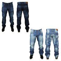 True Wisdom Mens Straight Leg Jeans Blue Denim Pants in Light Wash and Dark Wash