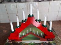 wooden 7 light candle bridge - christmas