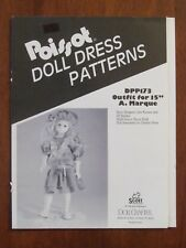 """POISSOT DOLL DRESS PATTERN - DPP173 OUTFIT for 15"""" A.MARQUE 1990 DRESS HAT SLIP"""