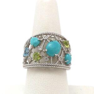 Judith Ripka Sterling Silver Stone Turquoise Peridot Topaz Diamonique Ring sz9