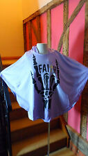 Small ( 8 -10) Lilac Festival Skeleton Hand Print Front Hooded Poncho by Sinstar