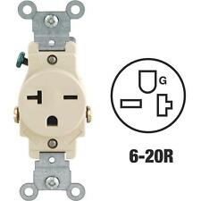 100 Pk Leviton 20A Ivory Heavy-Duty 6-20R Grounding Single Outlet S01-5821ISP