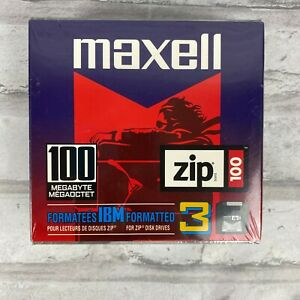 Maxell Zip Disk 3 Pack PC 100 MB Megabyte Brand New Factory Sealed