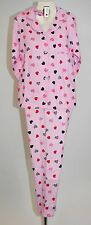 Ladies Pink Heart Button Down Full Length Winceyette Pyjamas. Size 12/14.