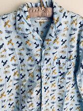 26b4af988f9 Vintage L XL 3 Guy Laroche Airplanes Blue Yellow Button Shirt Planes  Military